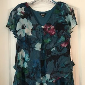 NWT Flowing Layered Dress in Teal Florals